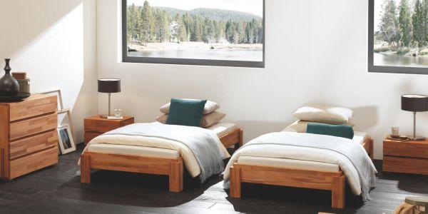 Hasena Massivholzbett Wood-Line Classic 16, ohne Kopfteil, Füße Amigo, Kernbuche, natur, geölt