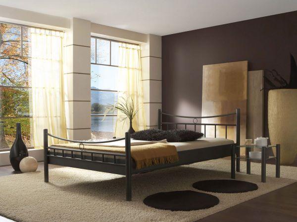 Dico Metallbett Saskia 560.00, Schwarz Struktur, Lieferung ohne Lattenrost, Matratze, Bettwaren und Deko