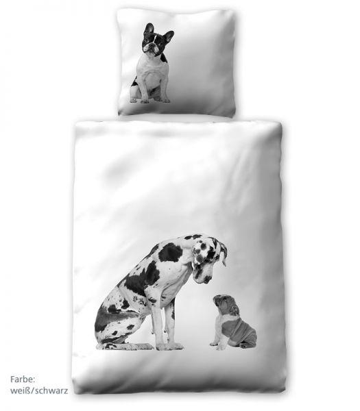Prinz Renforce Bettwäsche Hunde, Weiß-Schwarz 135 x 200 cm