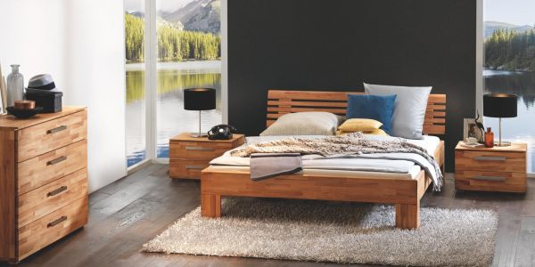 Hasena Massivholzbett Wood-Line Premium 18, Kopfteil Litto, Füße Massa, Kernbuche, natur, geölt