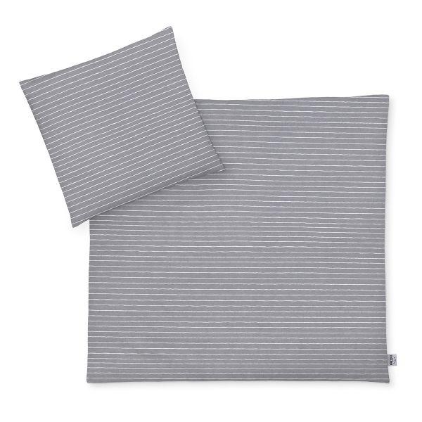 Zöllner Jersey Kinderbettwäsche Grey Stripes