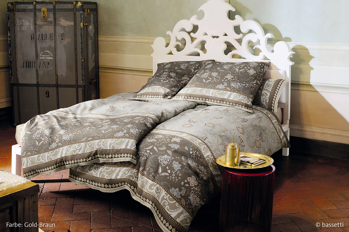 bassetti granfoulard mako satin bettw sche zancle gold braun 155 x 220 80 x 80 cm betten. Black Bedroom Furniture Sets. Home Design Ideas