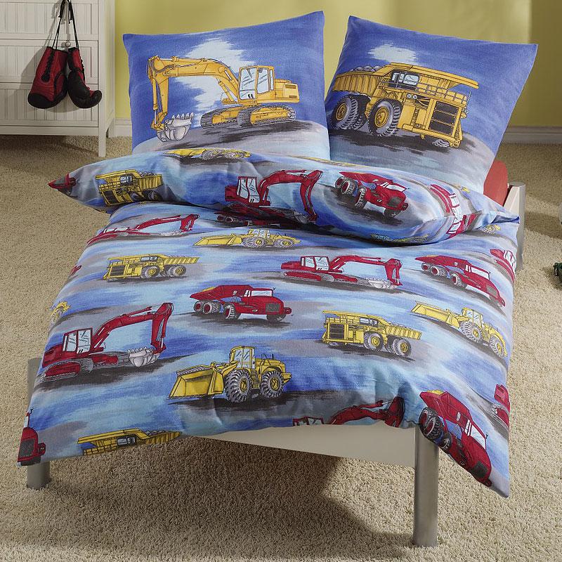prinz biber kinderbettw sche bagger 135 x 200 80 x 80 cm. Black Bedroom Furniture Sets. Home Design Ideas