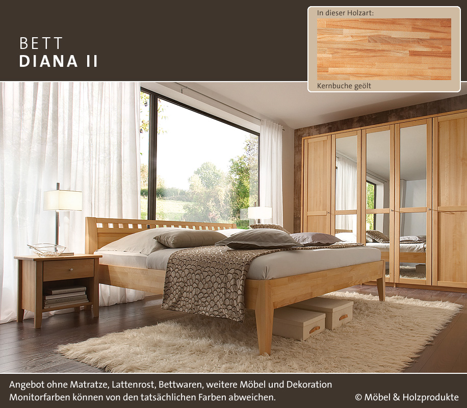 m h massivholz bett diana ii kernbuche ge lt betten prinz gmbh. Black Bedroom Furniture Sets. Home Design Ideas