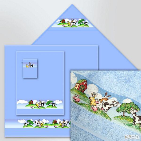 Dyckhoff Kinderfrottierserie Kapuzentuch Auf der Alm, Blau 100 x 100 cm