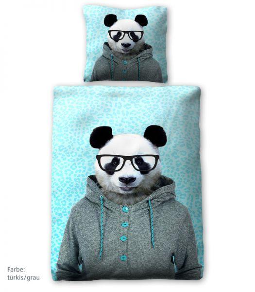 prinz renforce bettw sche panda t rkis grau 135 x 200 cm betten prinz gmbh. Black Bedroom Furniture Sets. Home Design Ideas