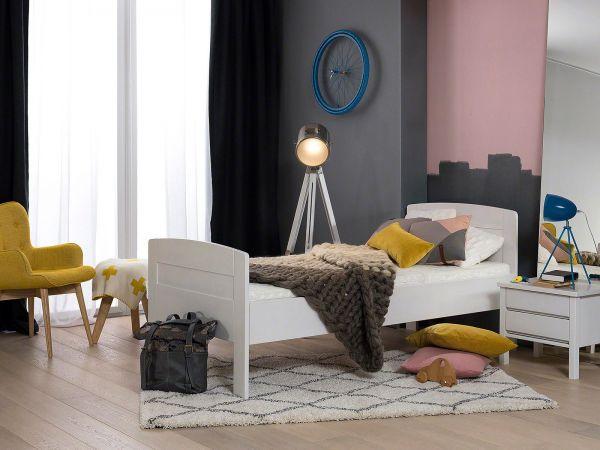 Dico Komfortbett Salzburg 430.00, Buche weiß lackiert,Lieferumfang Bett ohne Lattenrost, Matratze, Topper, Beimöbel, Bettwaren und Deko