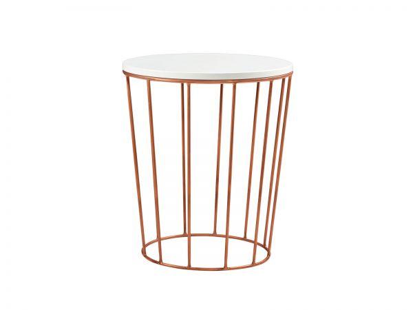 Fine-Line Nachttisch Lina, Buche weiß deckend, lackiert / Copper