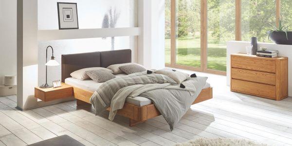 Massivholzbett Oak-Line Modul 18, Eiche natur, gebürstet, geölt, Kopfteil Cemoa, Füße Airo