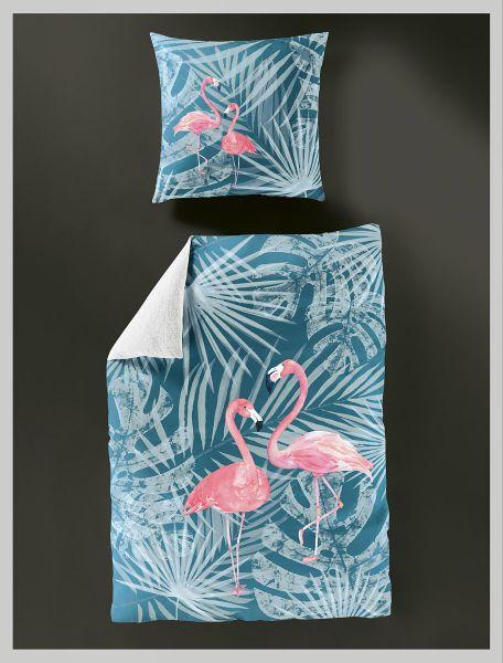 Bierbaum GO2BED Mako-Satin Wendebettwäsche Flamingo 5149, Petrol 135 x 200 + 80 x 80 cm