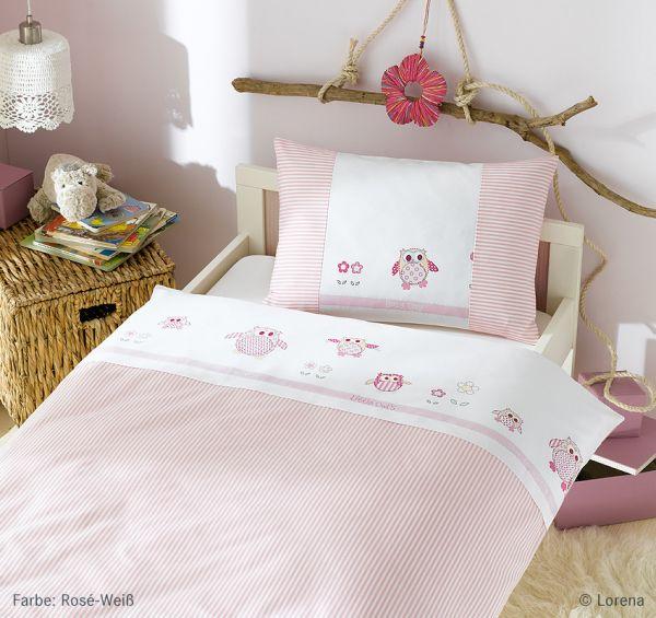 Lorena Mako-Satin Bettwäsche Kinderbettwäsche Garnitur mit Reißverschluss Eule