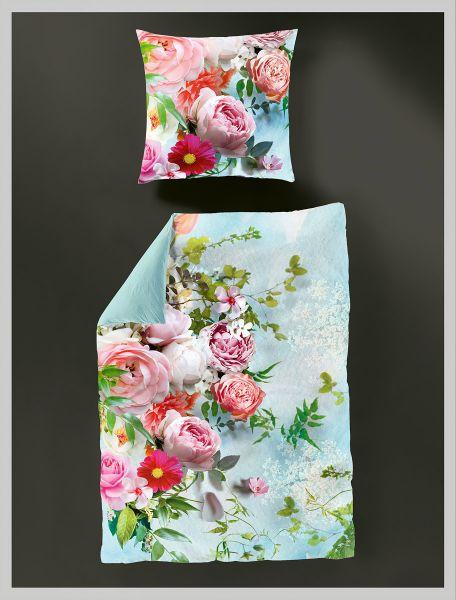 Bierbaum Mako-Satin Wendebettwäsche Roses 5155, Pink 135 x 200 + 80 x 80 cm