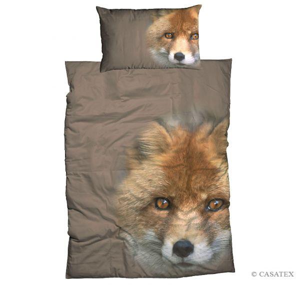 Casatex Satin Bettwäsche Fox, Grau 135 x 200 + 80 x 80 cm