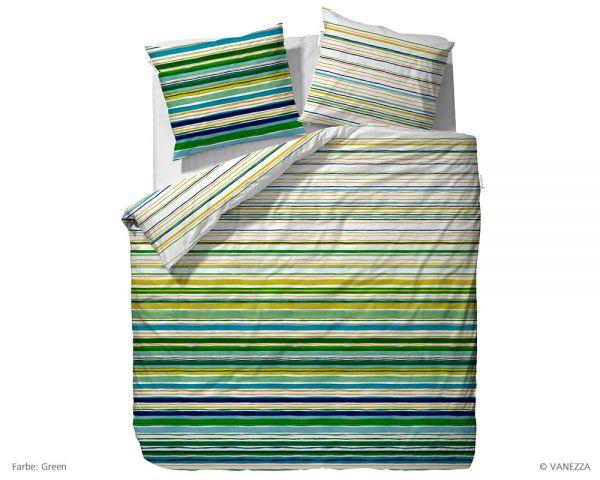 Vanezza Satin Bettwäsche Garnitur Tavo, Green 135 x 200 + 80 x 80 cm