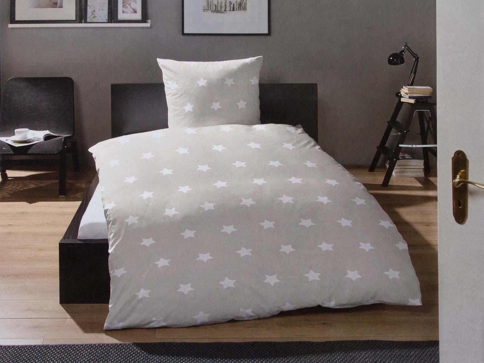 bettw sche winter 135x200 155x220 2 tlg sterne warme baumwolle fein biber grau ebay. Black Bedroom Furniture Sets. Home Design Ideas