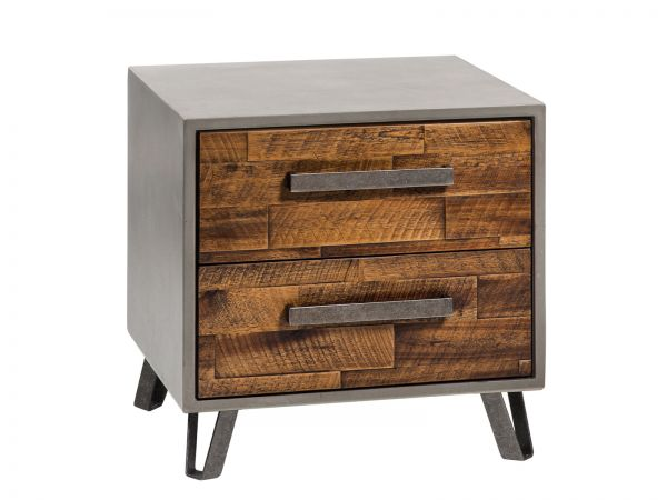 Factory-Line Nachttisch Modo, Akazie Vintage brown, lackiert mit Füßen Jone (nicht im Lieferumfang enthalten)