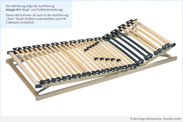 Benninger Bettsysteme Lattenrost Buche-Vollholzrahmen Adagio mit Kopf- und Fußteilverstellung
