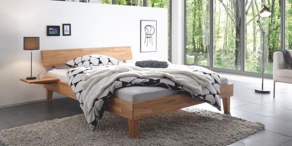 Hasena Massivholzbett Wood-Line Classic 16, Kopfteil Rino, Füße Juve, Kernbuche, natur, geölt