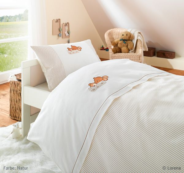 Lorena Mako-Batist Kinderbettwäsche mit Reißverschluss Benno, Natur 100 x 135 + 40 x 60 cm