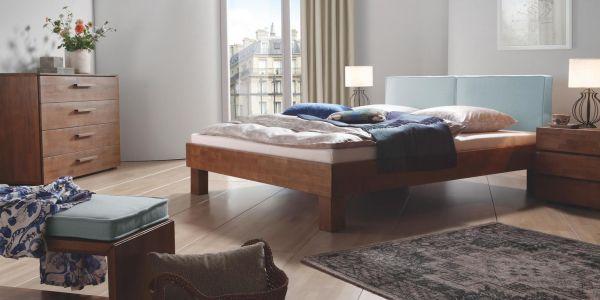 Hasena Massivholzbett Wood-Line Premium 18, Kopfteil Cena, Füße Cantu, Buche, walnuss, geölt