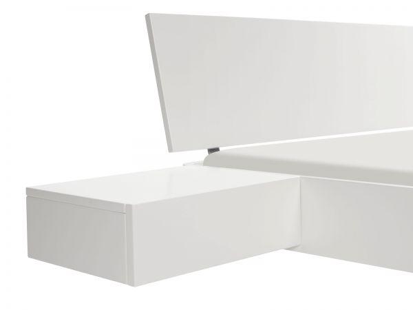 Moderno Nachttisch Caja, Buche weiß deckend, lackiert