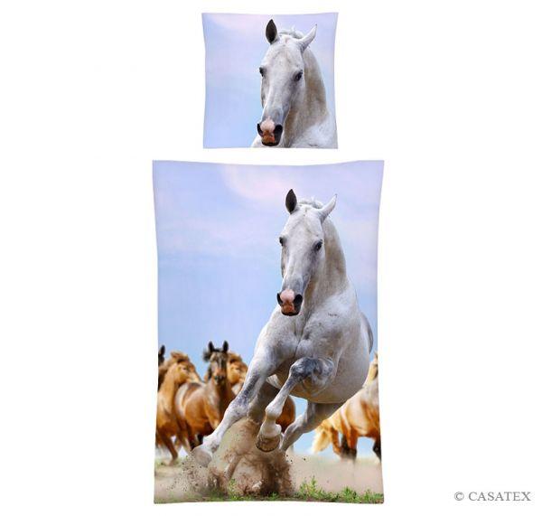 Casatex Renforcé Bettwäsche Cheval, Blau-Weiß 135 x 200 + 80 x 80 cm