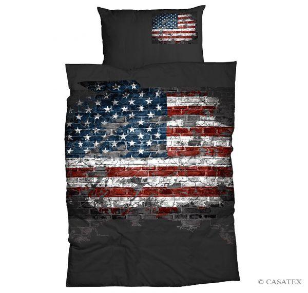 Casatex Renforcé Bettwäsche American Flag, Grau 135 x 200 + 80 x 80 cm