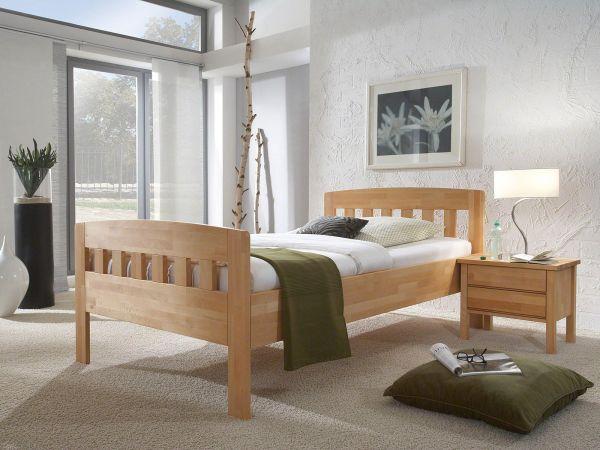 Komfortbett Rügen 420.00 Kernbuche geölt, Lieferumfang Bett ohne Lattenrost, Matratze, Topper, Beimöbel, Bettwaren und Deko