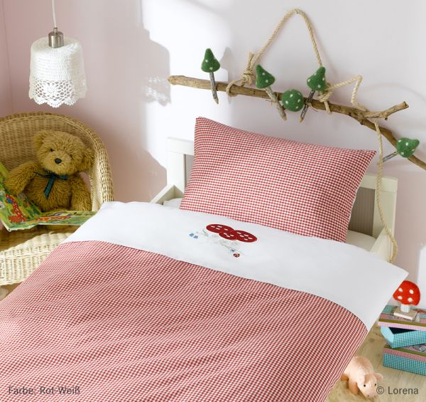 Lorena Mako-Batist Kinderbettwäsche mit Reißverschluss Pilz, Rot-Weiß 100 x 135 + 40 x 60 cm