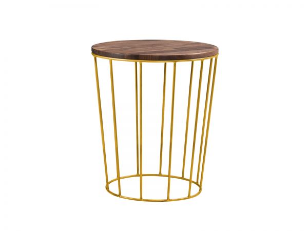 Moderno Nachttisch Lina, Nussbaum geölt, Metallfarbe bronze