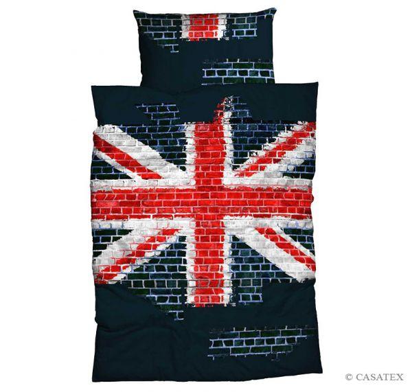 Casatex Renforcé Bettwäsche Union Jack, Blau 135 x 200 + 80 x 80 cm