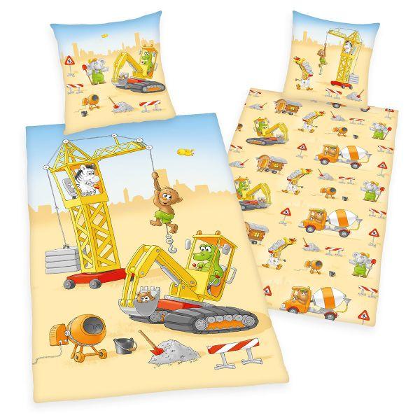 Herding Renforcé Kinder-Wendebettwäsche Baustelle 44512-27, 135 x 200 + 80 x 80 cm