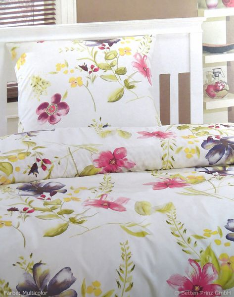 Prinz Satin Bettwäsche Blumenwiese, Multicolor 135 x 200 + 80 x 80 cm