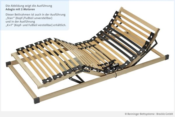 Benninger Bettsysteme Bettrahmen Buche-Vollholzrahmen Adagio mit 2 Motoren