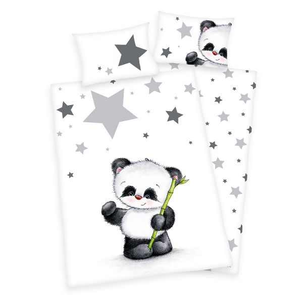 Herding Flanell Kinder-Wendebettwäsche Jana Panda 100 x 135 cm