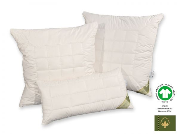 Bio-Cotton GOTS organic Kopfkissen mit Schurwollkugeln, 40 x 80 cm und 80 x 80 cm